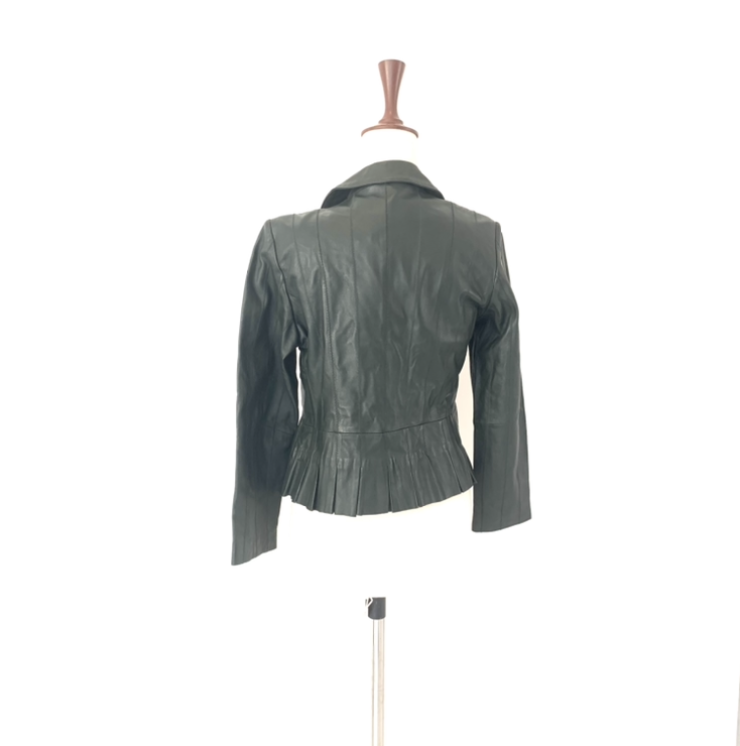 Coldwater Creek Green Leather Jacket | Brand New |