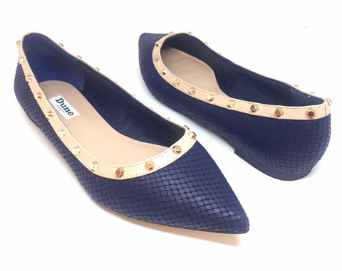DUNE 'BAMBINA' Navy Studded Pointed Toe Flats | Brand New |