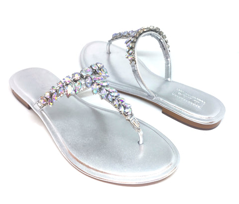 DUNE 'NARA' Silver Metallic Jeweled Flat Sandals | Brand New |