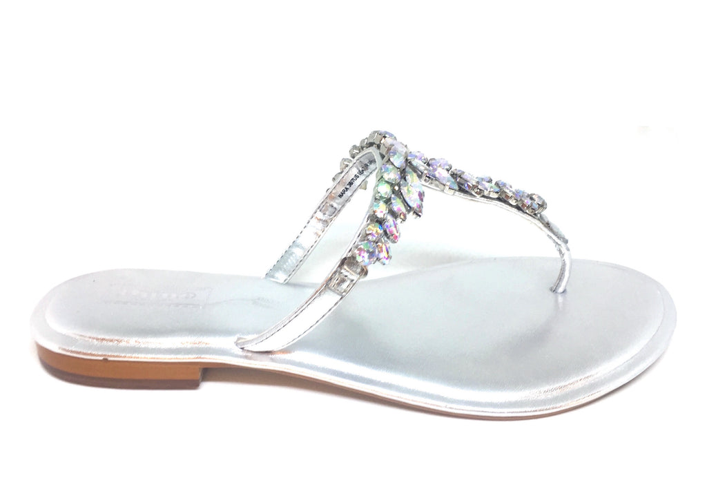 DUNE 'NARA' Silver Metallic Jeweled Flat Sandals | Gently Used |