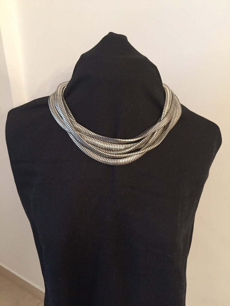 Van Heusen Stacked Silver Chains Statement Necklace | Brand New | - Secret Stash