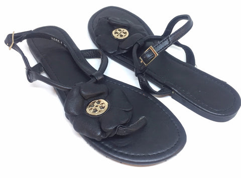 Tory Burch Shelby Flower Flat Sandals | Gently Used |
