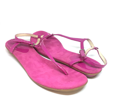 Nine West Pink T Strap Flat Sandals | Gently Used |