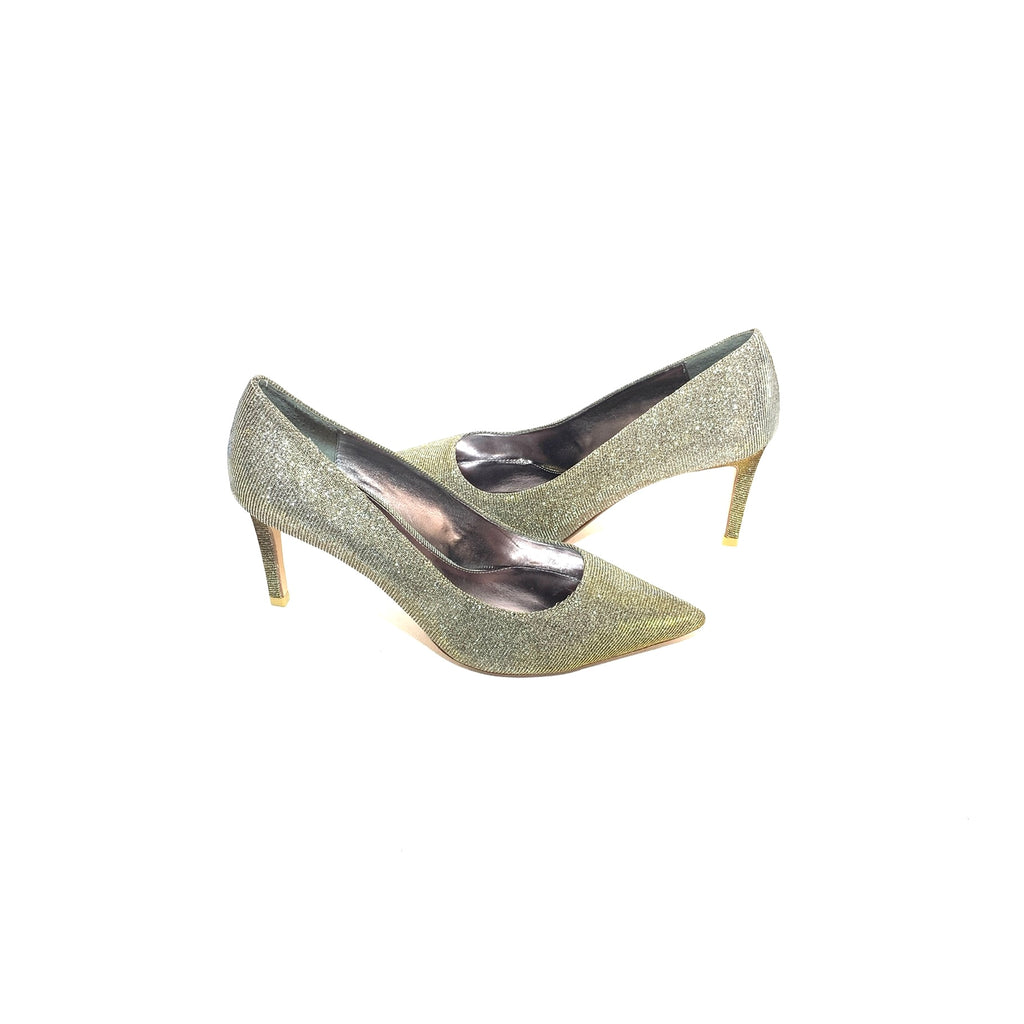 DUNE 'Abbigail' Gold Metallic Fabric Pointed Pumps | Gently Used |