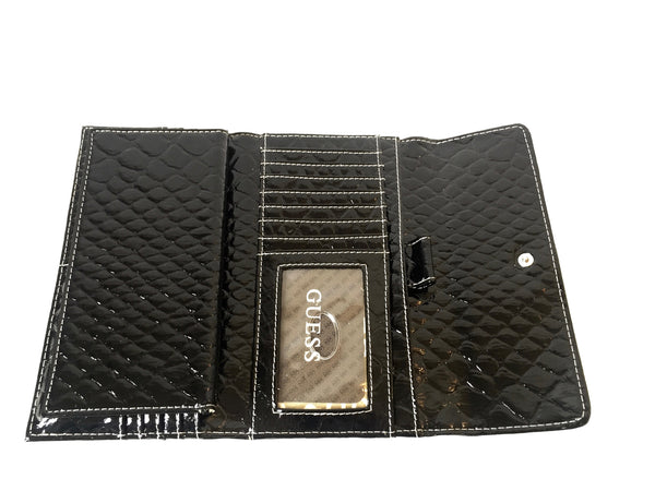 Guess Black Patent Leather Envelope Wallet | Like New |