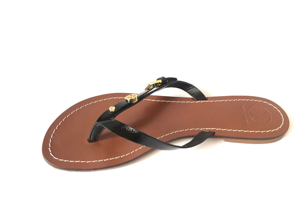 Tory Burch Black Leather Monogram Flip Flop Sandals | Brand New | - Secret Stash