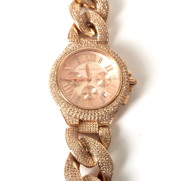 Michael Kors 'Camile' MK3196 Rose Gold Rhinestone Watch | Pre Loved |