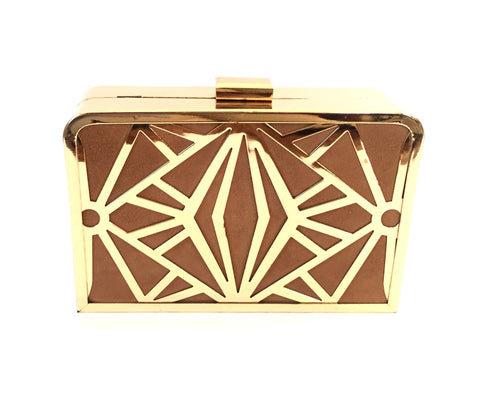DUNE Gold & Brown Box Clutch | Pre Loved |