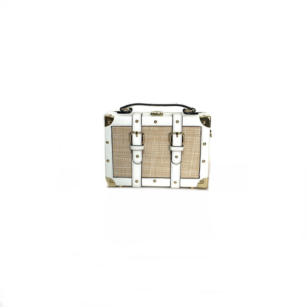 ALDO White & Beige Jute Box Bag | Gently Used |