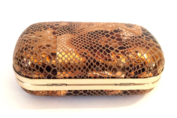 NICOLI Bronze Textured Box Clutch | Gently Used |