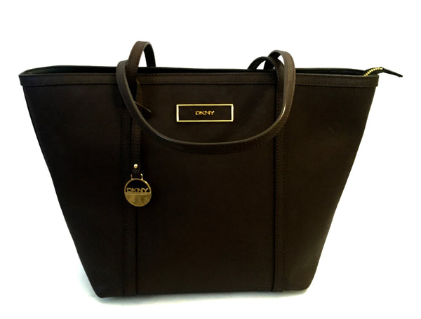 DKNY Dark Brown Leather Tote Bag | Gently Used |
