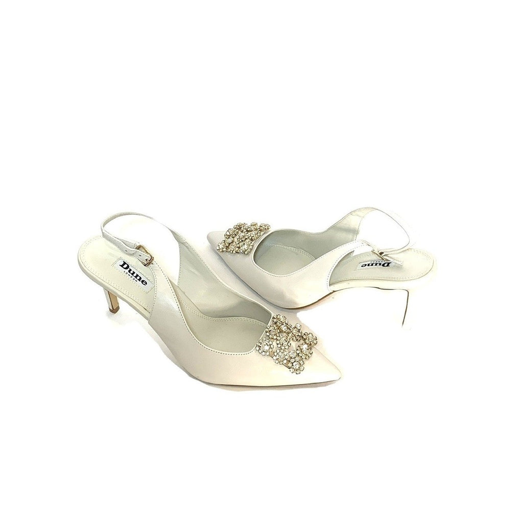 DUNE Dreamie Off-white Pointed Rhinestone Brooch Pumps | Gently Used |