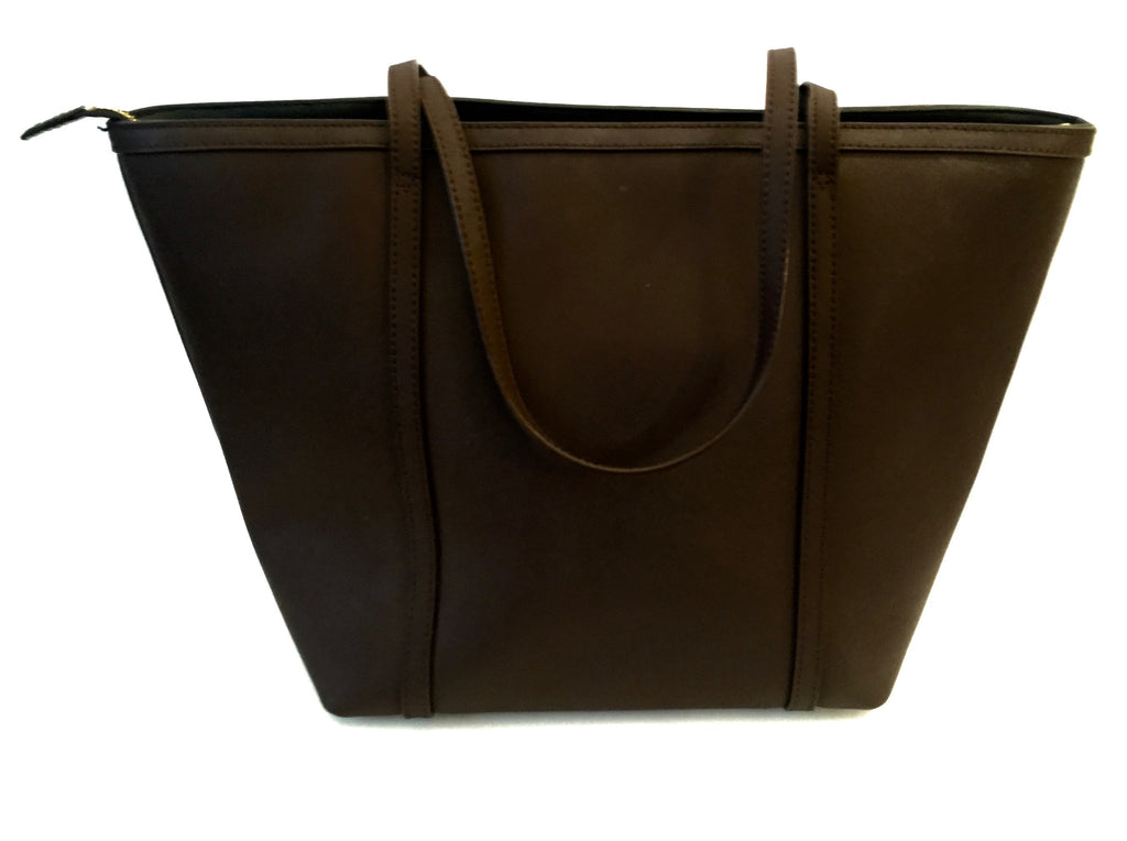DKNY Dark Brown Leather Tote Bag | Gently Used | - Secret Stash