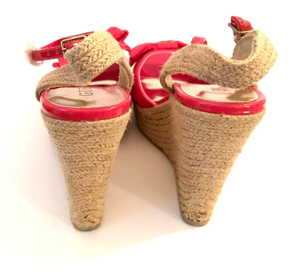 Guess Red Bow Fabric & Twine Wedges | Brand New |