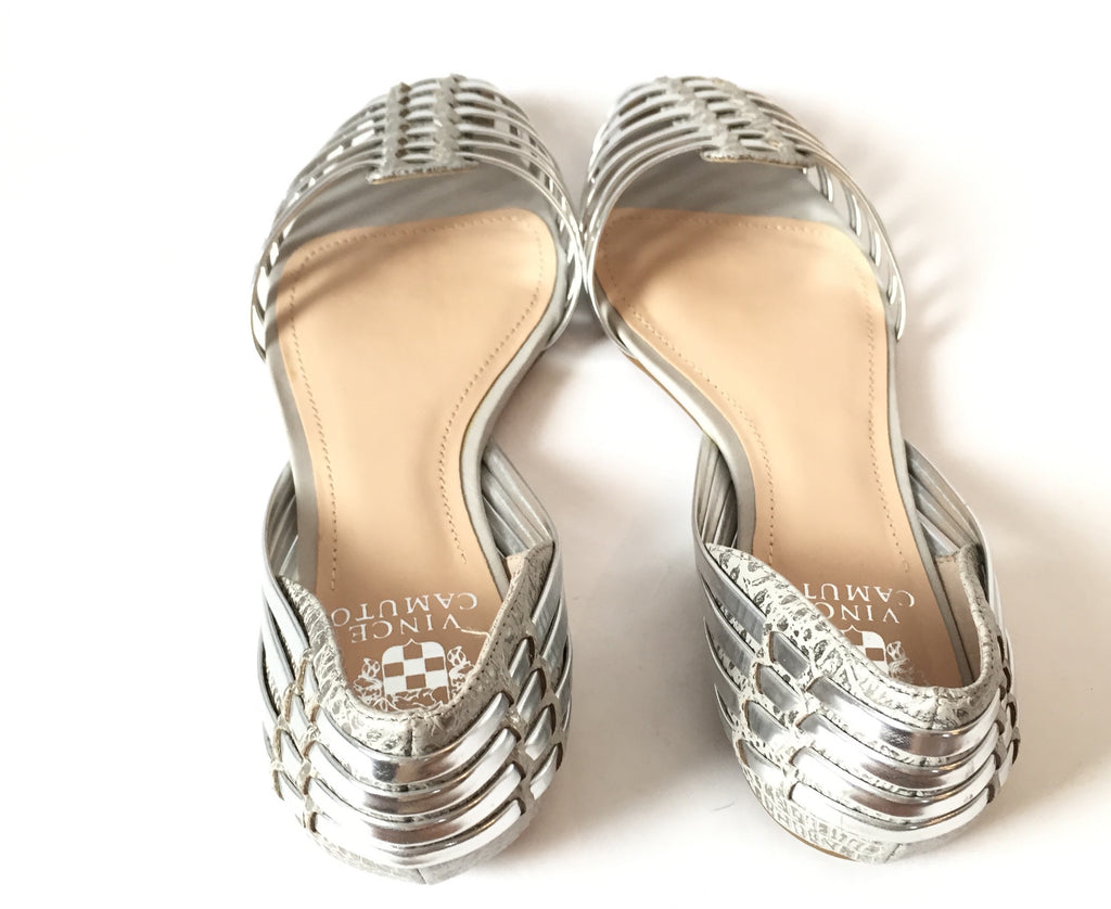 Vince Camuto Silver Leather Flats | Brand New |