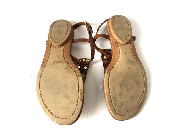 Guess Tan Leather Sandals | Pre Loved | - Secret Stash