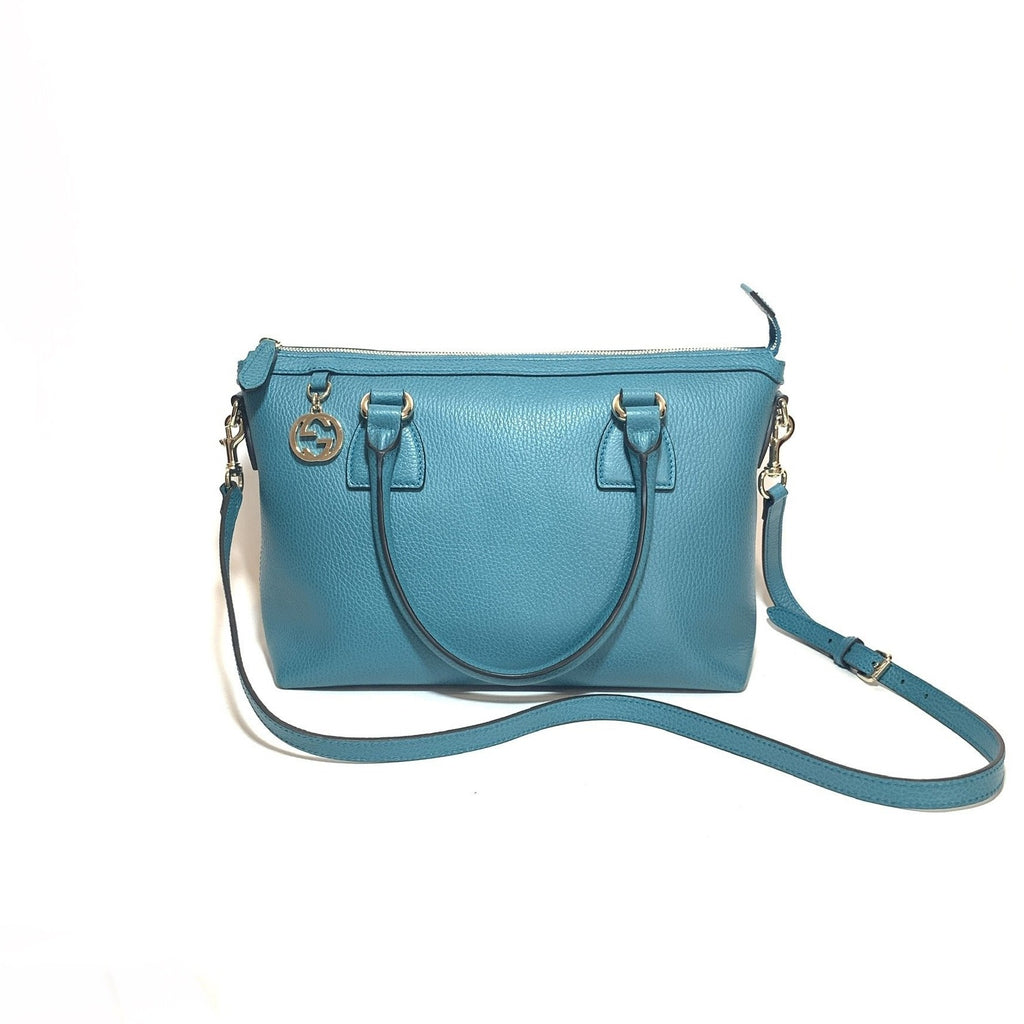 Gucci GG Charm Teal Pebbled Leather Convertible Bag | Like New |