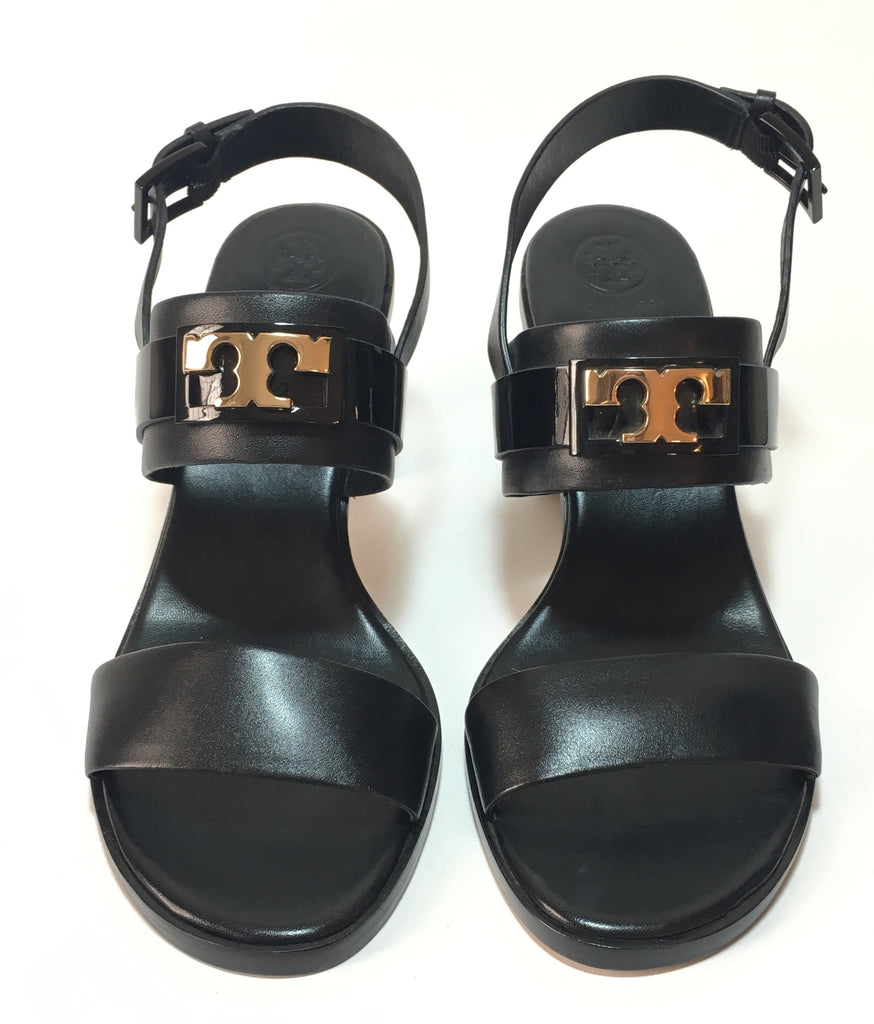 Tory Burch Black GIGI Two Band Leather Slingback Sandals