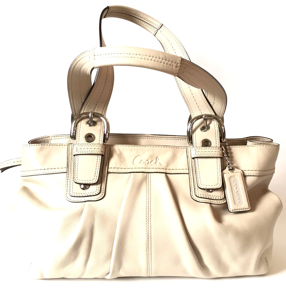 Coach White Leather Tote Bag | Gently Used | - Secret Stash