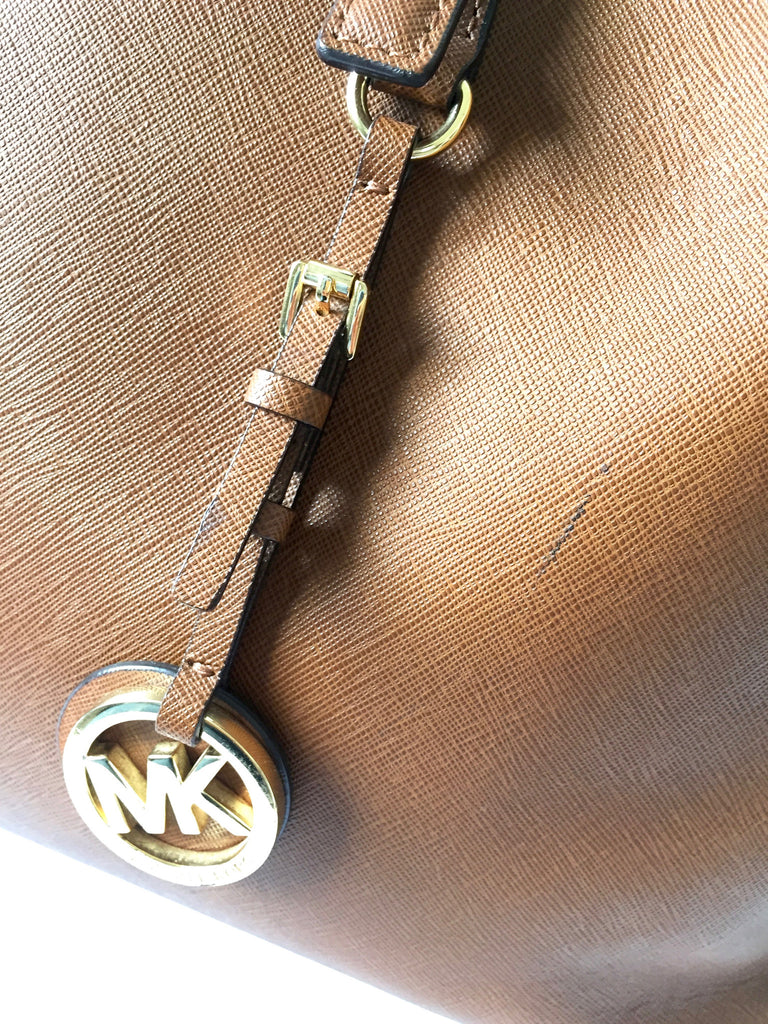 Michael Kors Jet Saffiano Large Tan Leather Tote | Pre Loved | - Secret Stash