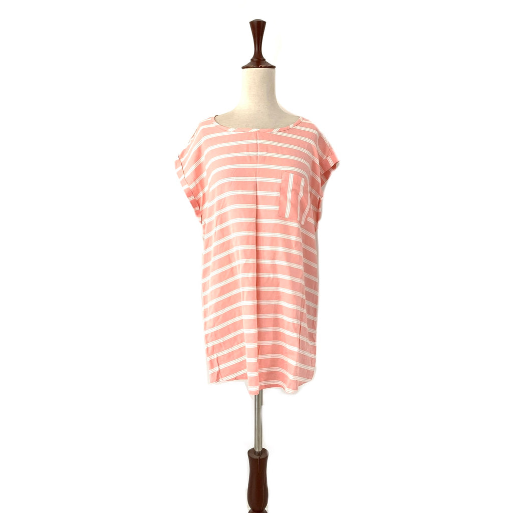 George Pink & White Striped Long Top | Gently Used |