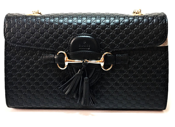 Gucci Black Emily Guccisma Medium Leather Chain Limited Edition Shoulder Bag