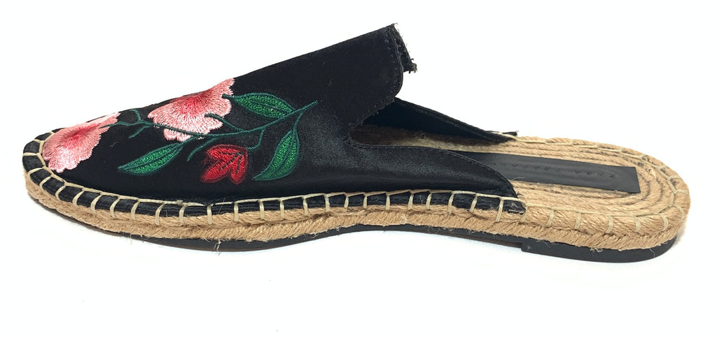 Zara Black Floral Embroidered Flat Mules | Like New |