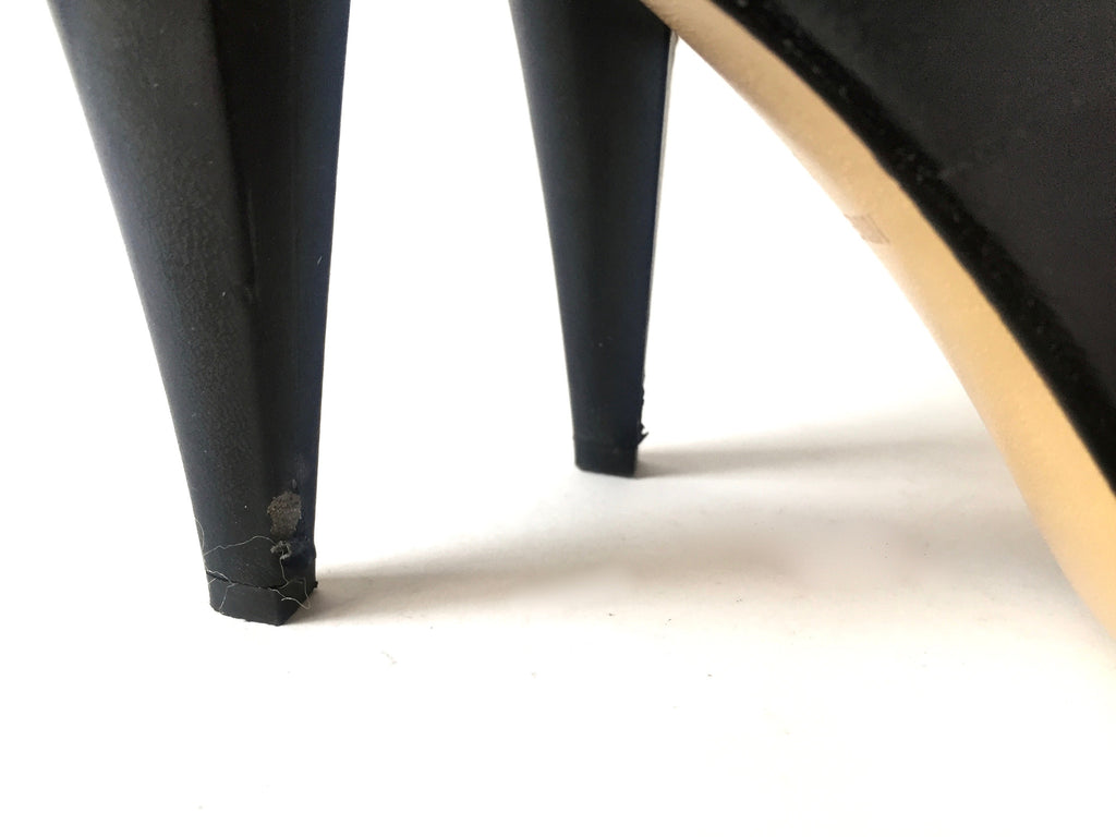 Nine West Peep-toe Leather Heels | Pre Loved | - Secret Stash