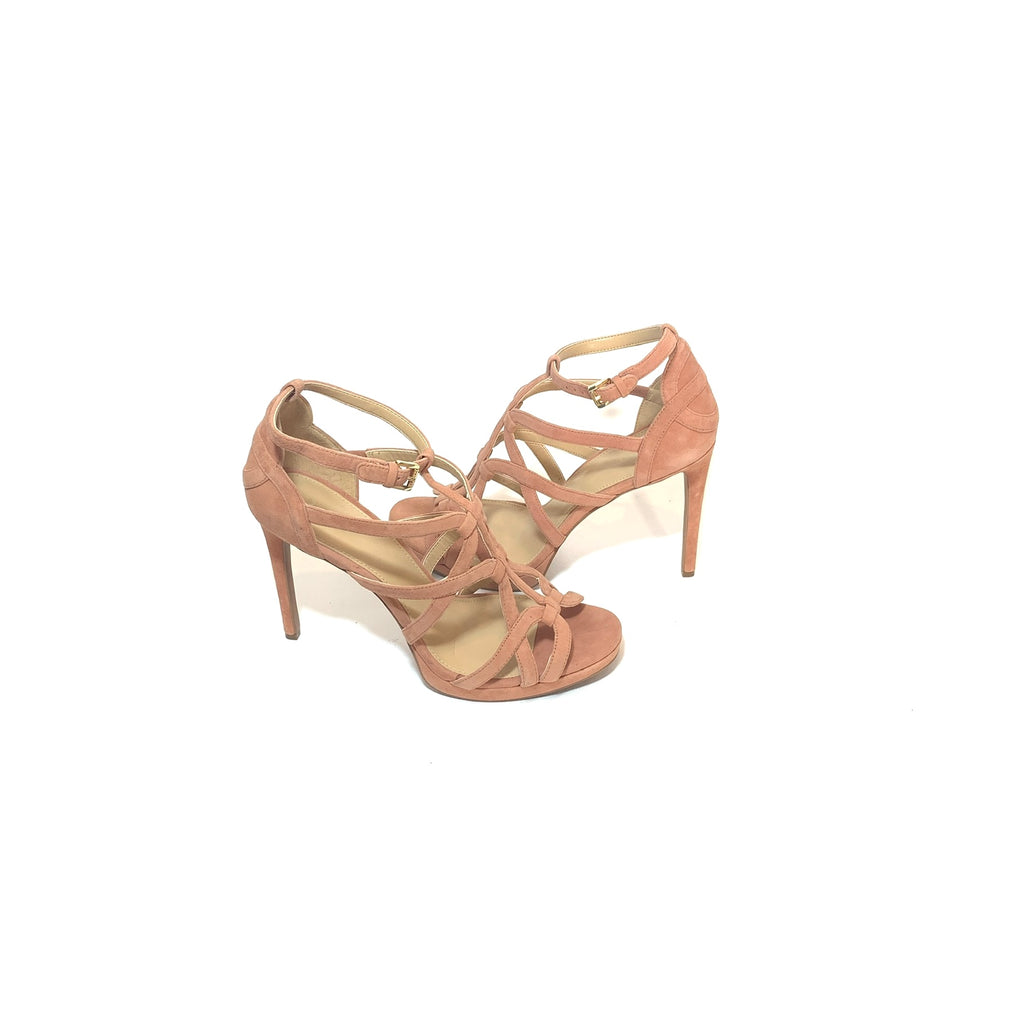 Michael Kors 'Sandra' Caged Terra Suede Platform High Heeled Sandals | Like New |