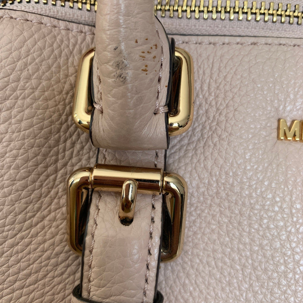 Michael Kors Nude-Beige Pebbled Leather Satchel | Pre Loved |