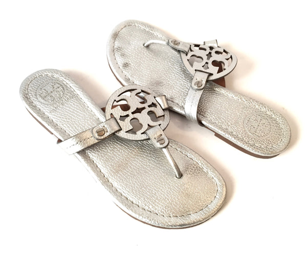 Tory Burch Silver Leather 'Miller' Sandals | Gently Used |