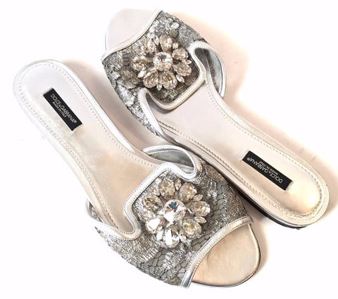 Dolce & Gabbana Embellished Rhinestone Lace Sandals | Gently Used |