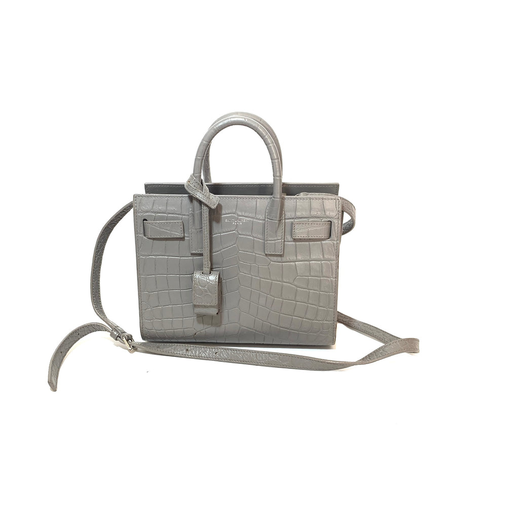 YSL Grey Leather 'Sac De Jour' Nano Satchel | Gently Used |