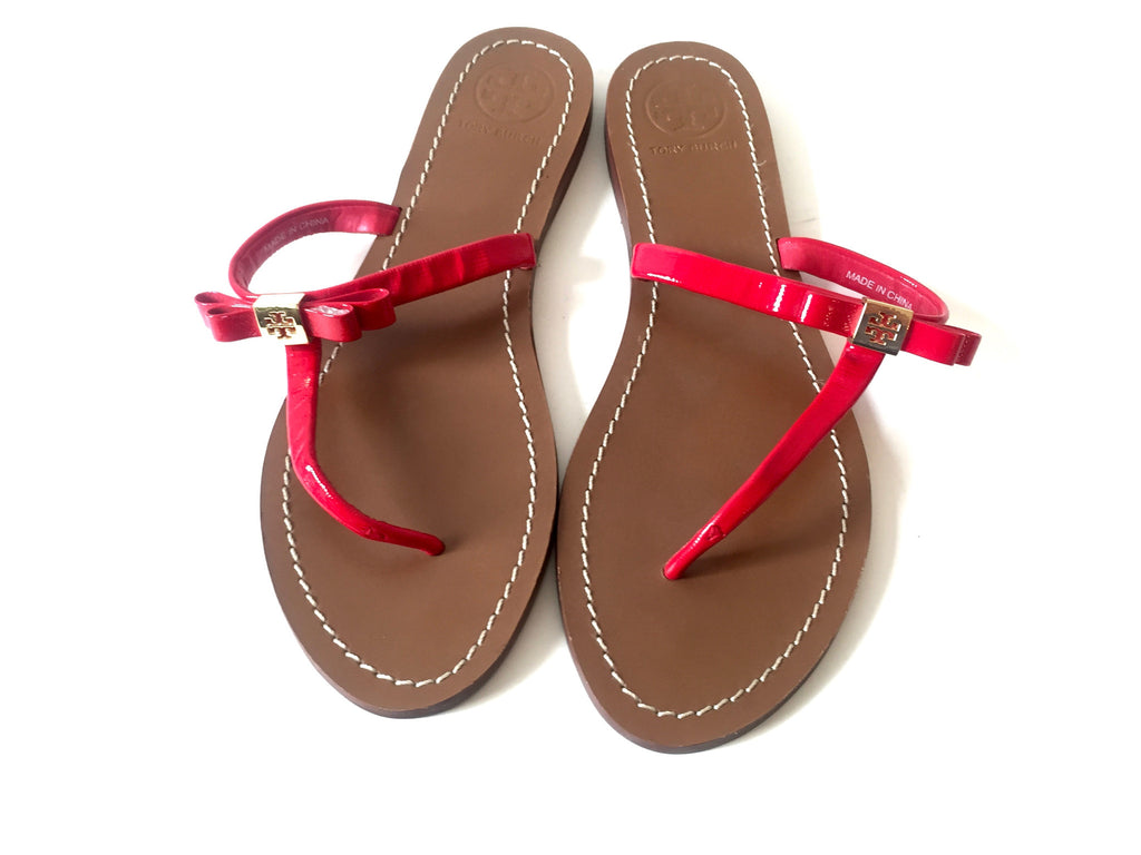 Tory Burch Leighanne 'Red' Bow Thong Sandal | Pre Loved | - Secret Stash