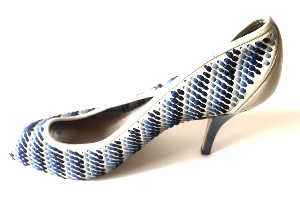Salvatore Ferragamo Blue & White Peep Toe Heels | Pre Loved | - Secret Stash