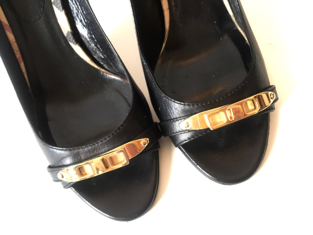 Burberry Black Leather with House Check Trim Pumps | Gently Used | - Secret Stash