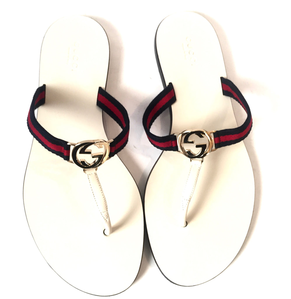 Gucci Logo White Thong Sandals | Gently Used |