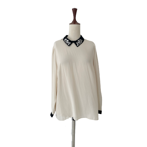 M&S Collection Cream Top with Rhinestones | Gently Used |