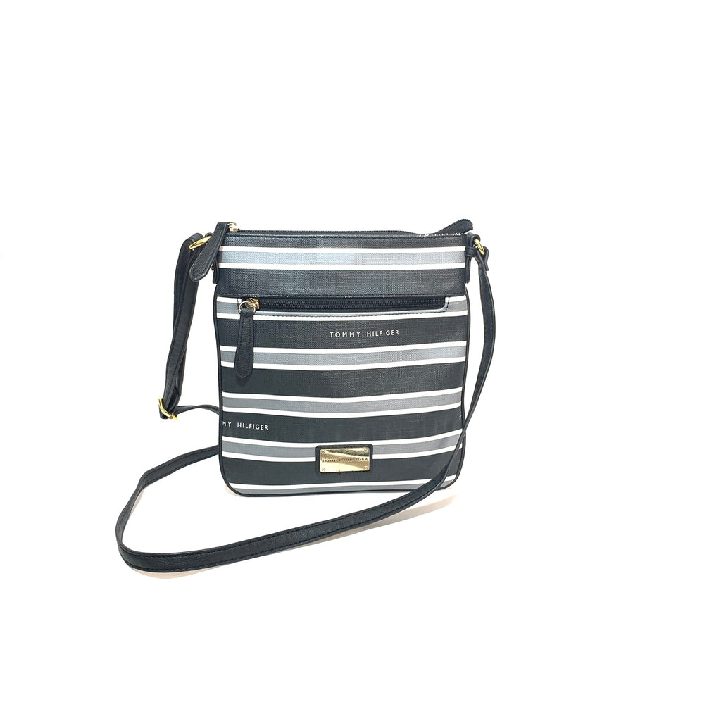 Tommy Hilfiger Black Striped Cross-Body Bag | Gently Used |