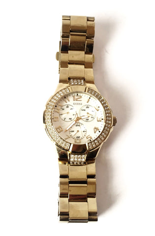 GUESS Gold Rhinestone Stainless Steel Watch | Pre Loved |