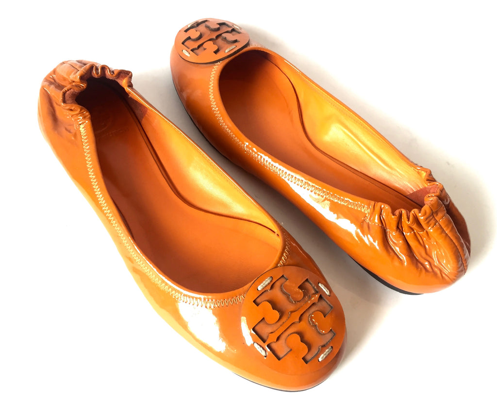 Tory Burch Orange Patent Leather Ballet Flats | Pre Loved |