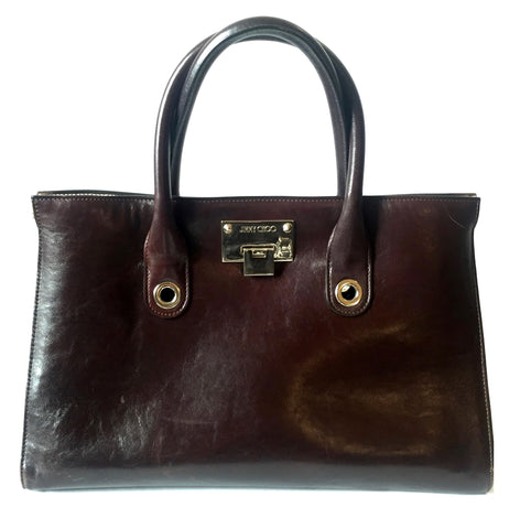 Jimmy Choo Dark Brown Leather Tote Bag | Pre Loved |