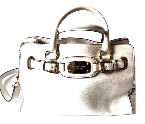 Michael Kors White Leather Hamilton Bag | Gently Used |