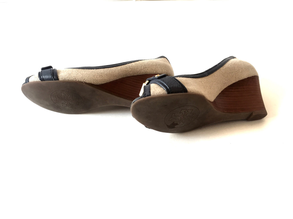 Tory Burch Canvas with Leather Trim Peep Toe Wedges | Gently Used | - Secret Stash
