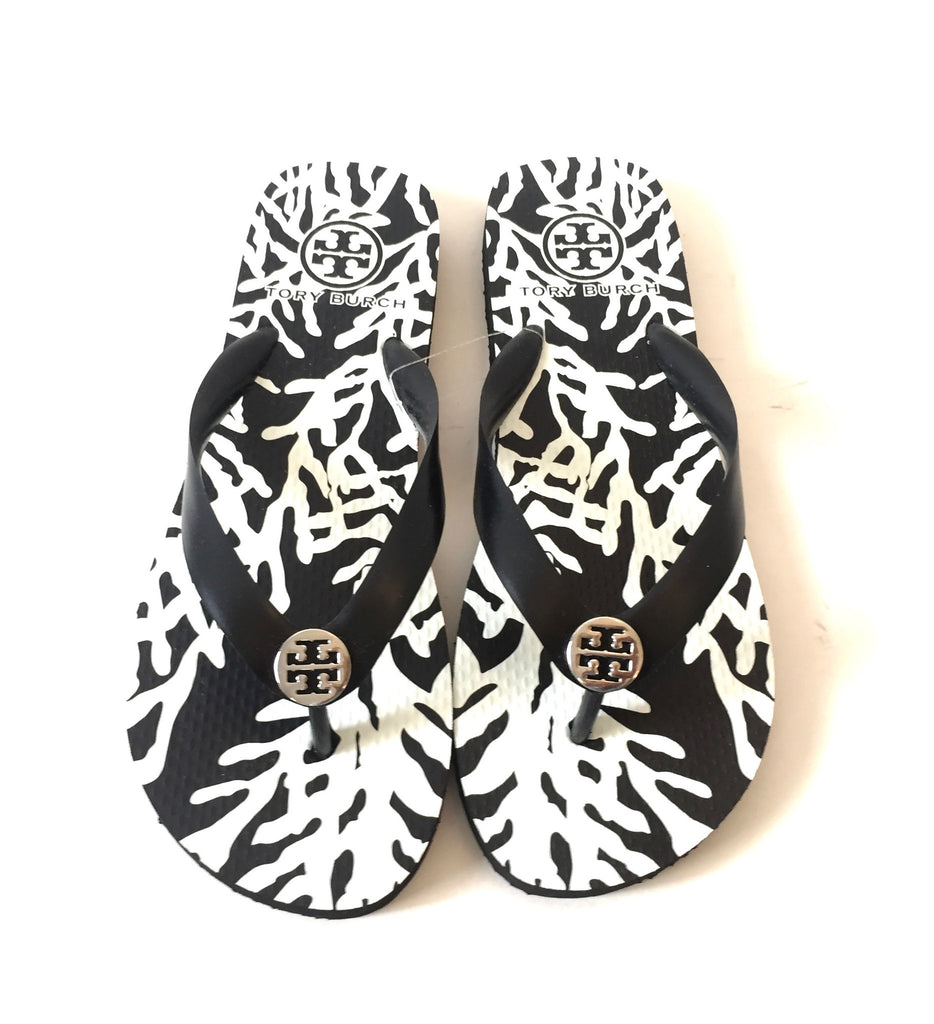 Tory Burch Black/ White 'Cera' Flip Flops | Brand New | - Secret Stash
