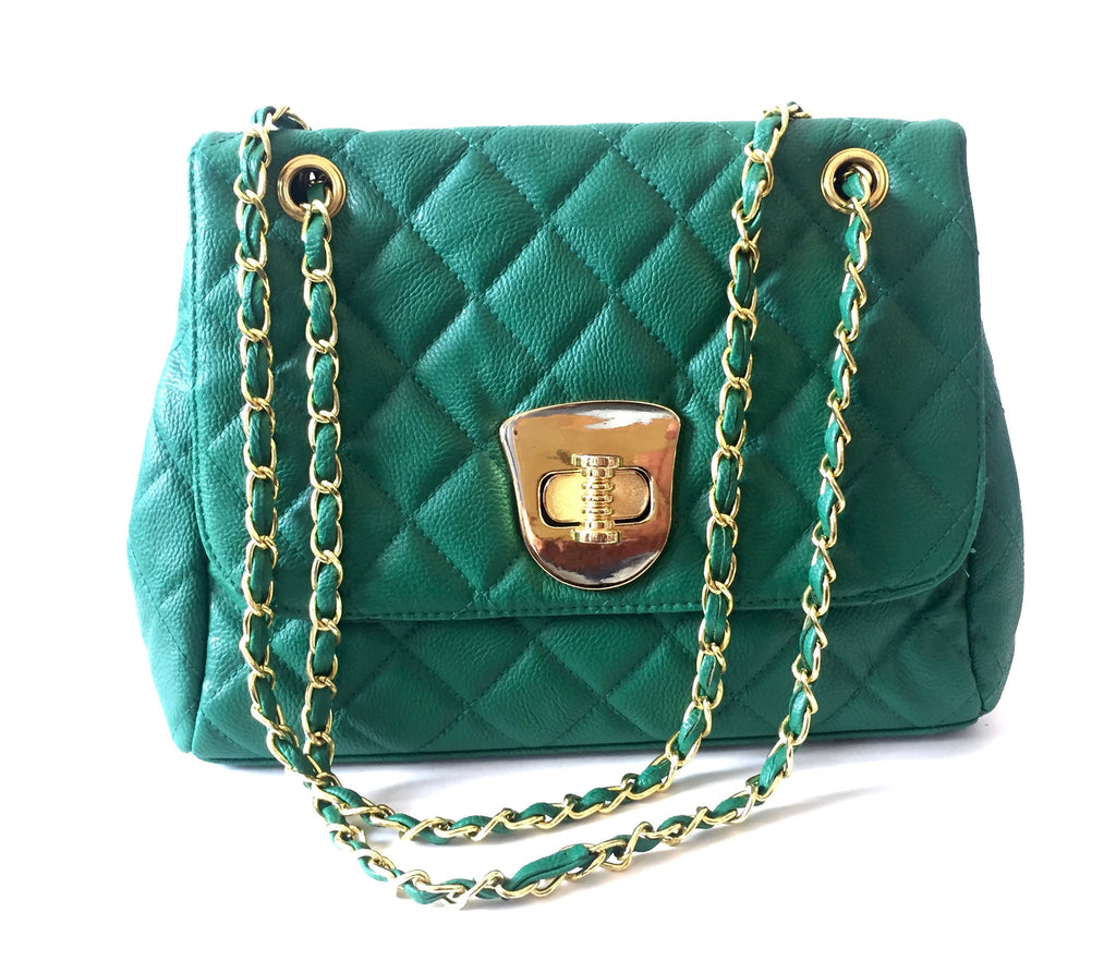 Dorothy Perkins Emerald Green Quilted Faux Leather & Chain Shoulder Bag | - Secret Stash