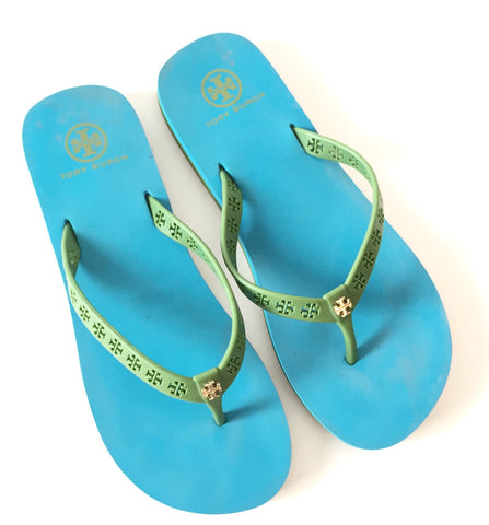Tory Burch Green & Blue Rubber Flip Flops | Pre Loved | - Secret Stash