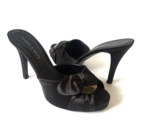 Charles & Keith Black Satin Heels | Brand New |