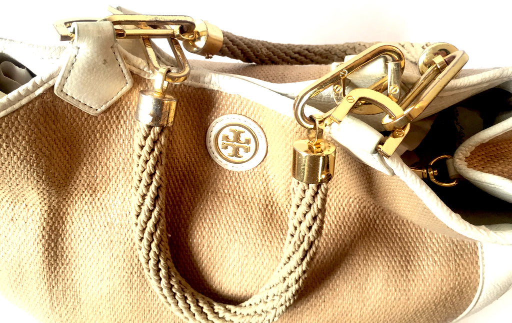 Tory Burch Jute with Leather Trim Shoulder Bag | Pre Loved |