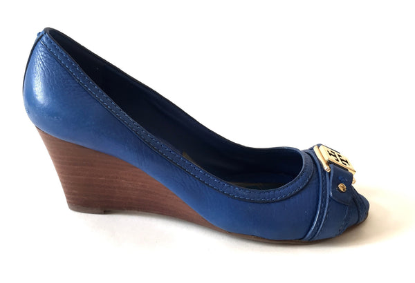 Tory Burch Cobalt Blue Leather Wedges | Pre Loved | - Secret Stash